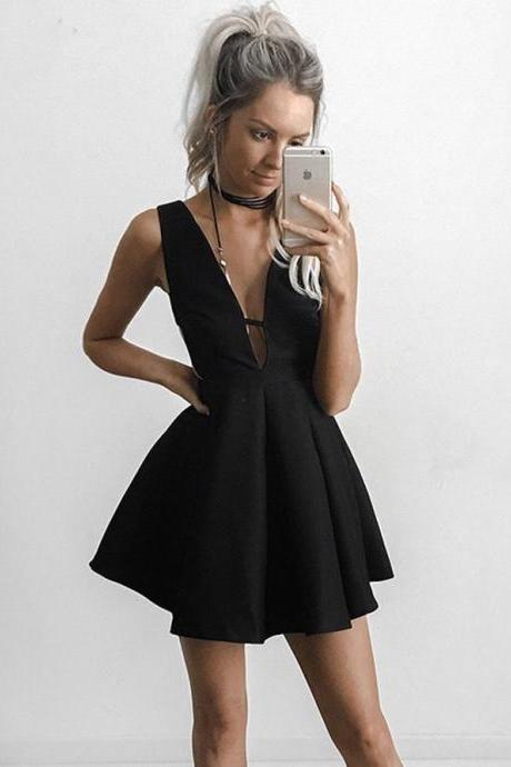 Black A-line V-neck Short Mini Satin Short Prom Dress Homecoming Dresses kmy446