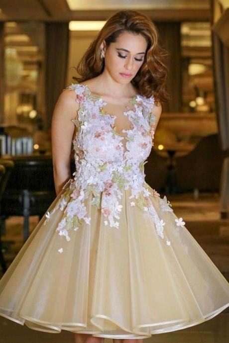 A-line Scoop Short Mini Tulle Short Prom Dress Homecoming Dresses SKY133