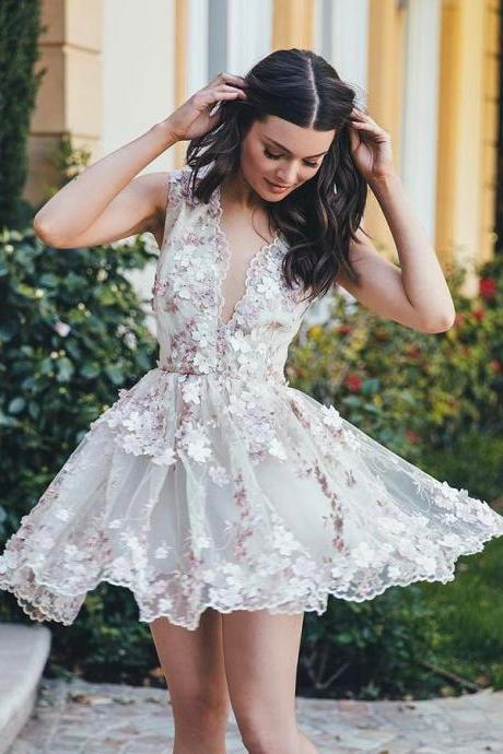 A-line V-neck Short Mini Tulle Short Prom Dress Homecoming Dresses SKY134