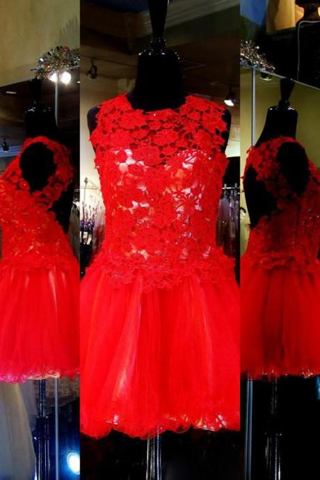 red prom dresses,Red A-line Scoop Sleeveless Short/Mini Tulle Homecoming Dresses/Short Prom Dresses SH1196