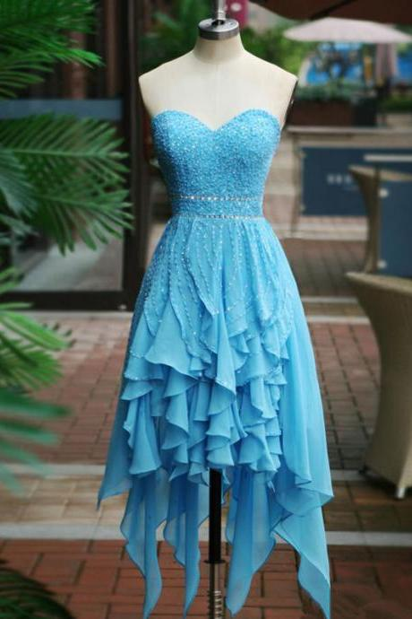 blue prom dresses,Blue A-line Sweetheart Asymmetrical Chiffon Homecoming Dress Short Prom Dresses SP8122