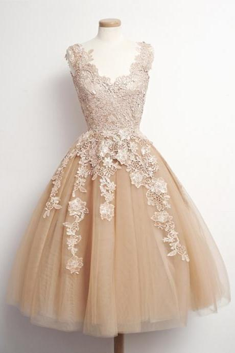 princess prom dresses,Champagne A-line Scoop Short Mini Tulle Homecoming Dress Short Prom Dresses SP8095