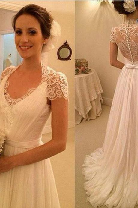 V-Neck Lace Ruched A-line Chiffon Wedding Dress Featuring Cap Sleeves and Sheer Lace Back