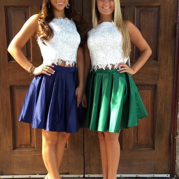 Two Pieces A-line Bateau Short Mini Taffeta Short Prom Dress Homecoming Dresses kmy329