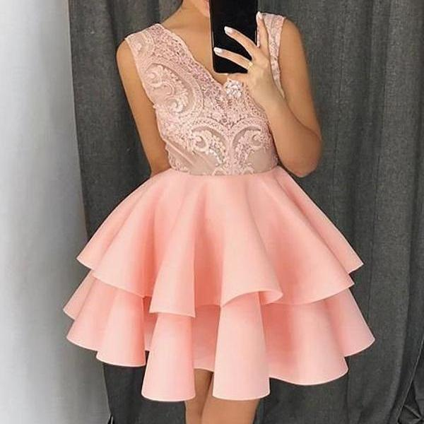 A-line V-neck Short Mini Satin Short Prom Dress Homecoming Dresses kmy233